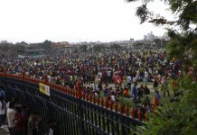 People gather at Tundikhel after an earthquake in Kathmandu, capital of Nepal, on April 25, 2015. Death toll in Nepal climbed to 711, the country's Home Ministry said Saturday afternoon, hours after a major earthquake struck the country. (Xinhua/Pratap Thapa)