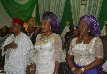 Governor Anambra State, Chief Willie Obiano, his Wife Ebelechukwu and Wife of Deputy Governor, Lady Vivian Udeoko Chukwu who represented the Wife of Governor of Abia State at the Mothers? Summit held Friday at Women Development Centre, Awka.