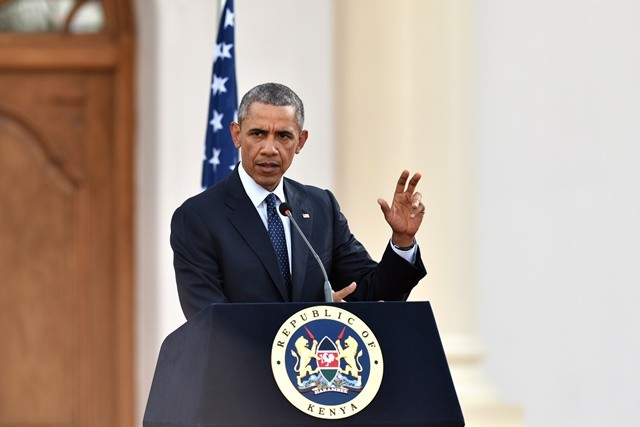 U.S. President Barack Obama speaks during a joint press conference with Kenyan President Uhuru Kenyatta in Nairobi, Kenya, July 25, 2015. Kenya and the U.S. on Saturday reaffirmed their commitment on security cooperation and in the war against terrorism to help prevent future terror attacks in the East African nation. (Xinhua/Sun Ruibo)