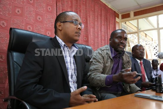 PAC Chairman Nicholas Gumbo (centre) with committee members Abdikadir Aden (left) and Julius Melly address the media at Parliament Buildings on the Auditor General's report, Monday. PHOTO: MOSES OMUSULA/STANDARD