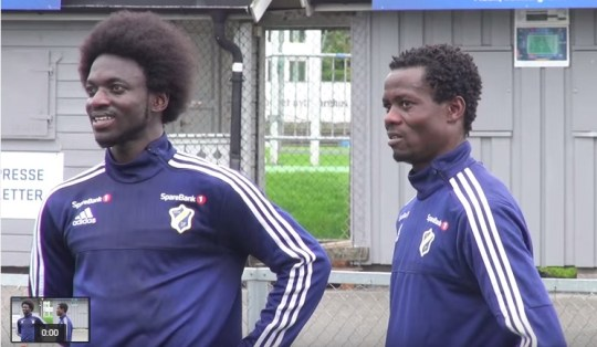 Anthony Annan with new team-mate Ernest Asante