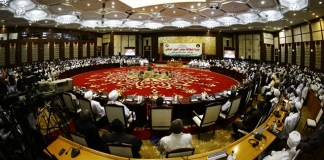 Photo taken on Oct. 10, 2015 shows a scene of the national dialogue conference in Khartoum, Sudan. Sudanese President Omar al-Bashir on Saturday vowed to declare a permanent ceasefire with the rebels if the rebel leaders joined the national dialogue conference. (Xinhua/Mohammed Babiker)