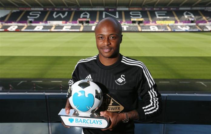 Andre Ayew was named August's Premier League player of the month after he scored three goals in four matches.
