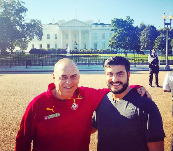Avram Grant in the company of his agent Saif Rubie at the White House