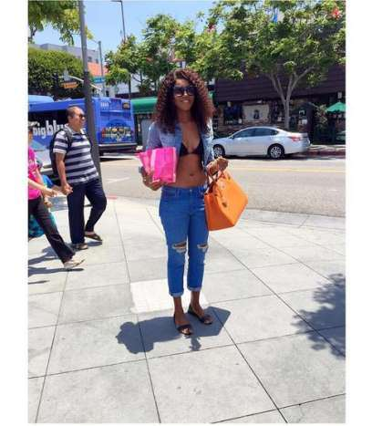 Yvonne Nelson flaunts slim figure in USA