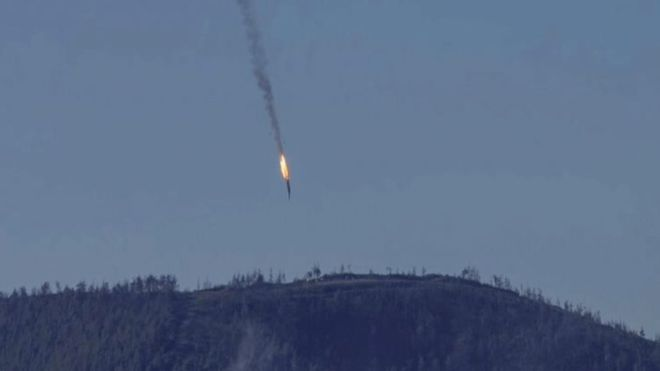 The Russian bomber crashed into a mountainside on Syrian soil after being hit by a missile from a Turkish jet