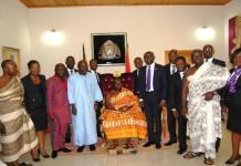 Managers of Abii National Savings and Loans and Priority Insurance Company in a picture with Otumfuo
