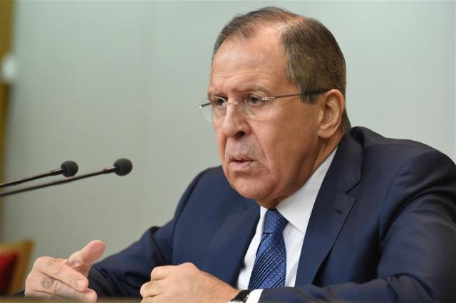 Russian Foreign Minister Sergei Lavrov addresses his annual press conference in Moscow, capital of Russia, on Jan. 26, 2016. Russia intends to build relationships with western countries on the basis of equality and mutual benefit, and it will no longer yield to external pressure, Foreign Minister Sergei Lavrov said Tuesday. (Xinhua/Dai Tianfang)