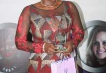 Anita Erskine receiving the Legend Award at the Women Mean Business Honors
