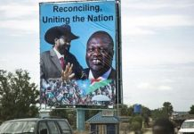 Riek Machar (R) is to be vice-president in a new unity government led by President Salva Kiir (L)