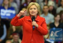 Democratic presidential candidate Hillary Clinton speaks at a rally at Washington High School in Cedar Rapids, Iowa, the United States, Jan. 30, 2016. [Photo/Xinhua]