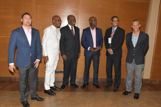 MD ,HFC Bank, Mr. Le Hunte, Vice President of Ghana, H.E. Paa Kwesi Amissah Arthur, Prime Minister of Trinidad and Tobago , Christopher Rowley and Managing Director RBL, Nigel Baptiste and guests