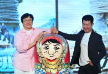 """Jackie Chan and Yuen Biao are on stage to promote Chan's new film """"Skiptrace"""" in Beijing on May 22, 2016. [China.org.cn]"""