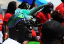 Artists take part in the opening parade of the three-day Ghana Carnival 2016 in Accra, Ghana, on July 1, 2016. Ghana Carnival 2016 started on Friday with colorful events including beach party, poetry recitals, live paintings and band display while countries like Seychelles, Togo, Trinidad and Tobago and Nigeria will participate. (Xinhua/Lin Xiaowei)