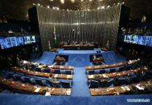 Photo taken on Aug. 30, 2016 shows a scene of a Senate session in Brasilia, Brazil. Starting on Tuesday, Brazilian senators will decide whether Brazil's suspended President Dilma Rousseff will be impeached or not. The impeachment requires a two-thirds vote, or 54 of the 81 senators. (Xinhua/Li Ming)