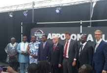 Ambassador Jackson, Mr Jennings, and other dignitaries at the unveiling of the Appolonia Business Park signage.