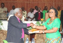 A bible was presented to Mrs Osei to signify peace and harmony