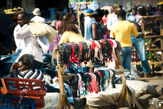 Secondhand underwear is sold illegally at New Soweto Market in Lusaka. Traders refuse to have their faces shown for fear of getting in trouble with law enforcement. Prudence Phiri, GPJ Zambia