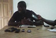 The Deputy CEO of YEA, Mr Luke Ayamga Atazoona, addressing the Media