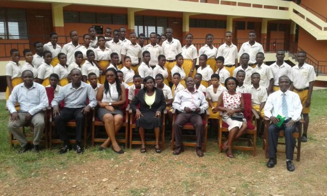 Personnel from the Local Content Unit of the Energy Ministry together with teachers and students of Nkroful SHS
