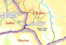 "The graphics shows an appendix released in the document titled ""The Facts and China's Position Concerning the Indian Border Troops' Crossing of the China-India Boundary in the Sikkim Sector into the Chinese Territory."" (Xinhua/Qu Zhendong)"