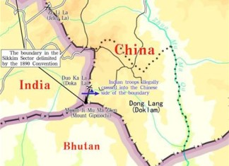 """The graphics shows an appendix released in the document titled """"The Facts and China's Position Concerning the Indian Border Troops' Crossing of the China-India Boundary in the Sikkim Sector into the Chinese Territory."""" (Xinhua/Qu Zhendong)"""