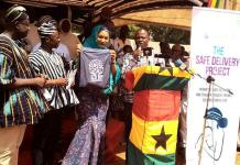 """Mrs Samira Bawumia in veil launching the """"Safe Delivery project"""" in Salaga"""