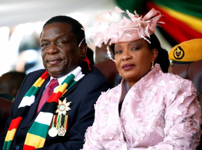 Zimbabwe President Emmerson Mnangagwa and First Lady Auxilia at his inauguration after winning the July 30, 2018 national election.