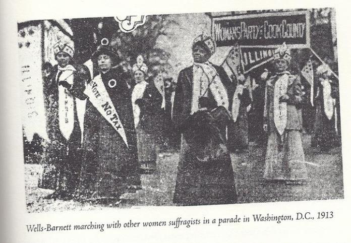 ida b. wells barnett marching in washington d.c. womens suffrage demonstration in 1913