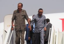 Abiy Ahmed (R), Ethiopian Prime Minister and Eritrean President Isaias Afwerki (L) disembark from a plane at Juba International Airport in Juba, capital of South Sudan, March 4, 2019. Abiy Ahmed and Isaias Afwerki on Monday visited South Sudan in a bid to consolidate the ongoing regional effort to restore peace and stability in the world's youngest republic. (Xinhua/Daniel Majack)