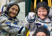 Astronauts Christina Koch (left) and Anne McClain will be members of the first all-female spacewalk. (Getty Images)