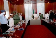 PRESIDENT BUHARI IN SECURITY MEETING WITH SERVICE CHIEFS 2. President Muhammadu Buhari with Security Chiefs during a security meeting at the State House, Abuja PHOTO; SUNDAY AGHAEZE. AUG 20 2018