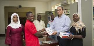 GOI Foundation team and MIST Library staff (from left to right): Naeelatu Sulemana, Mohammed Sadat Abdulai, Dr. Ahmed Aly, Sadik Shahadu, Mohammed Hardi Yakubu & Hawa Ali. Photo Credits: Amuzujoe