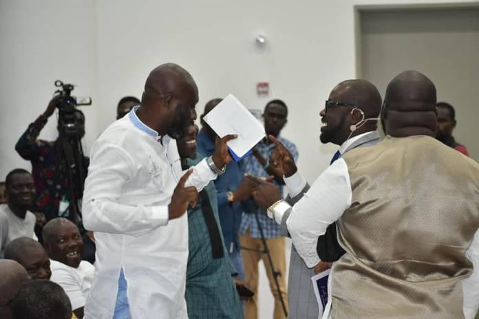 Healthy Rivalry As Two GFA Presidential Hopefuls Hug And Dance At Ghana Exim Bank