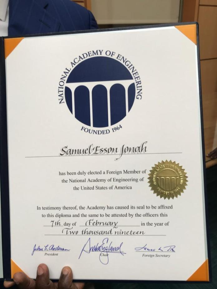 US Academy of Engineering honours Sir Samuel Esson Jonah