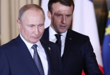 French President Emmanuel Macron (R) and Russian President Vladimir Putin attend Normandy Four Summit in Paris, France, Dec. 9, 2019. Ukraine and Russia agreed on a full and comprehensive implementation of the ceasefire in eastern Ukraine before the end of 2019, leaders of Russia, Ukraine, France and Germany announced in Paris on Monday evening following their talks called Normandy Four Summit. (Xinhua/Gao Jing)