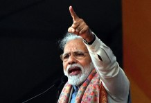 Indian Prime Minister Narendra Modi addresses his Bharatiya Janata Party's rally in New Delhi, India, on Dec. 22, 2019. Narendra Modi on Sunday refuted allegations that his government is discriminatory in the Citizenship Amendment Act (CAA) which has triggered massive protests nationwide. (Photo by Partha Sarkar/Xinhua)