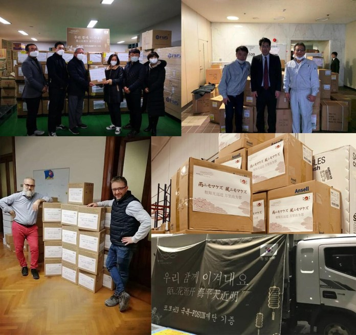Packages of urgently needed medical supplies donated by China's Fosun Group were received in Japan, Republic of Korea and Italy. Photo courtesy of Fosun Group.