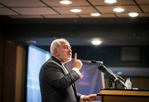 "Iranian Foreign Minister Mohammad Javad Zarif speaks during the international conference on ""Unilateralism and International Law"" in Tehran, Iran, Oct. 21, 2019. Zarif said on Monday that the United States has created tension in the Middle East region, official IRNA news agency reported. (Photo by Ahmad Halabisaz/Xinhua)"