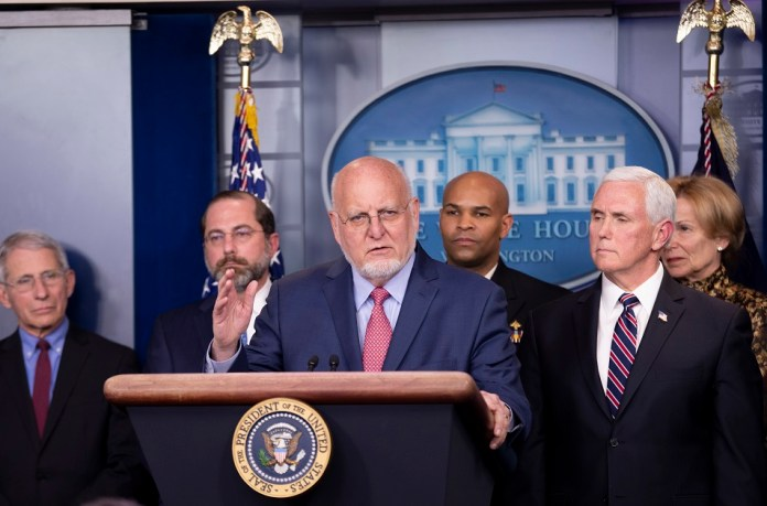 Director of the U.S. Centers for Disease Control and Prevention (CDC) Robert Redfield attends a press conference on the COVID-19 at the White House in Washington D.C. March 9, 2020. U.S. President Donald Trump said Monday that his administration will ask Congress to approve a possible payroll tax cut and provide