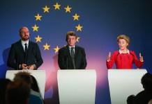 European Commission President Ursula von der Leyen (R), European Parliament President David Sassoli (C) and President of the European Council Charles Michel attend a press conference on the future of Europe at the Parlamentarium in Brussels, Belgium, Jan. 31, 2020. The United Kingdom's (UK) withdrawal agreement will enter into force upon the UK's exit from the EU on Friday night, ending the country's 47-year membership. (Xinhua/Zheng Huansong)