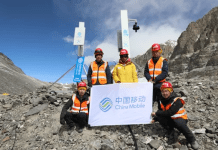 A view of 5G base stations built by China Mobile at Mount Qomolangma. Photo: Courtesy of China Mobile