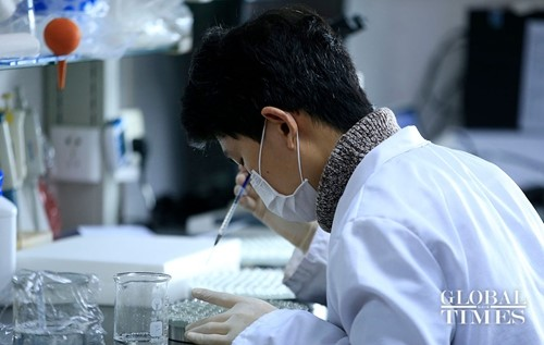 A scinetist is doing research on a vaccine against COVID-19 in Shanghai. Photo:Yang Hui/Global Times