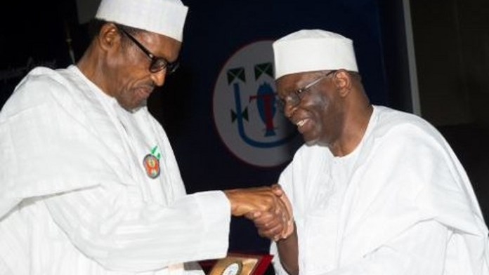 President Muhammadu Buhari-left and his new Chief of Staff, Prof Ibrahim Gambari-right. (Politics Nigeria)