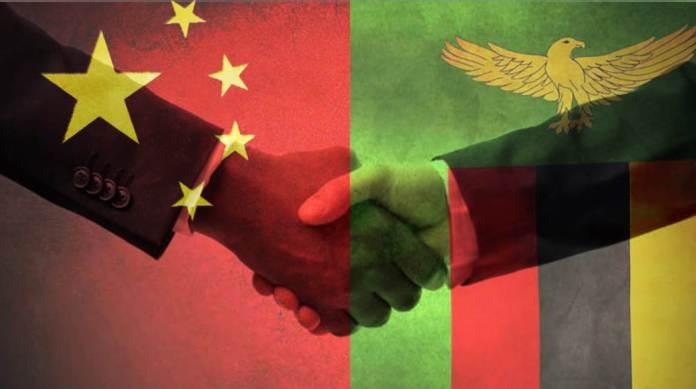Zambia China Flag Handshake
