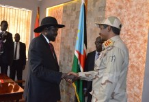 South Sudanese President Salva Kiir (L, front) shakes hands with Mohamed Hamdan Daqlu, Deputy Chairman of Sudan's Sovereign Council in Juba, capital of South Sudan, Dec. 10, 2019. Mohamed Hamdan Daqlu has reiterated Sudanese government's commitment to achieving peace in the country, the council said on Tuesday. (Xinhua/Denis Elamu)