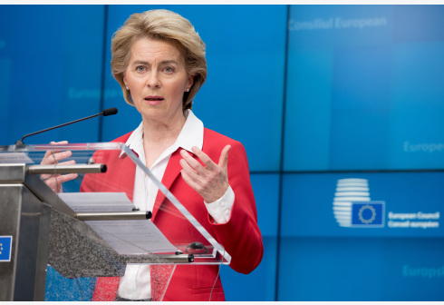 BRUSSELS, March 18, 2020 (Xinhua) -- European Commission President Ursula von der Leyen speaks at a press conference after a video conference in Brussels, Belgium, March 17, 2020. The heads of state and government of the European Union (EU) agreed during the video conference on Tuesday to endorse a temporary restriction on travels to the EU territory amid coronavirus concerns. (European Union/Handout via Xinhua)