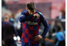 Champions League - Quarter Final - FC Barcelona v Bayern Munich - Estadio da Luz, Lisbon, Portugal - August 14, 2020 Barcelona's Gerard Pique looks dejected after the match, as play resumes behind closed doors following the outbreak of the coronavirus disease (COVID-19) REUTERS/Rafael Marchante/Pool