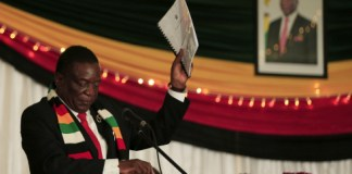 HARARE, March 19, 2020 (Xinhua) -- Zimbabwean President Emmerson Mnangagwa addresses the launching ceremony for the country's preparedness and response plan against COVID-19, in Harare, Zimbabwe, March 19, 2020. Zimbabwean President Emmerson Mnangagwa on Thursday thanked China and other countries for the support they have rendered to Zimbabwe as it steps up its preparedness to combat coronavirus (COVID-19). (Photo by Shaun Jusa/Xinhua)