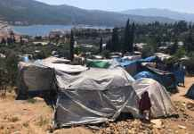 On Samos, new arrivals set up camp where they can. Photo: Gemma Bird